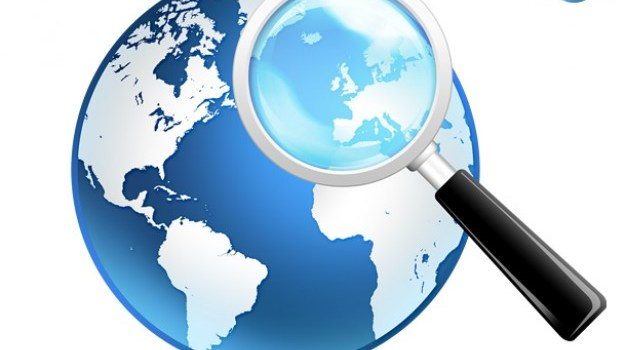 Global search icon, psd globe and magnifier