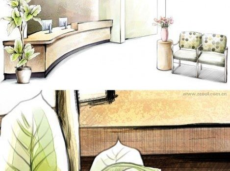 hand painted style of interior decoration psd layered picture of