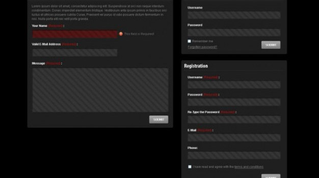 interface and the login box   psd layered material