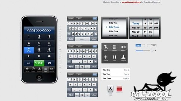iphone gui fine psd layered material