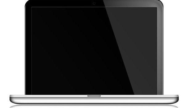 Silver laptop icon (PSD)