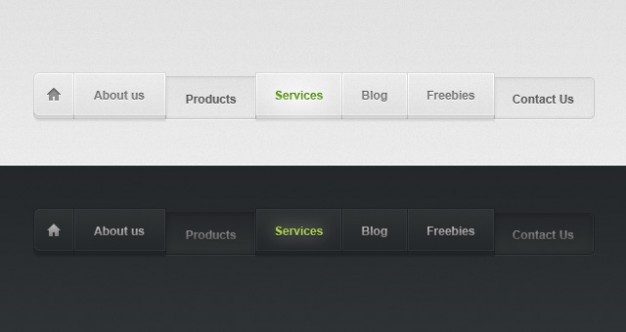 light and dark psd web menu