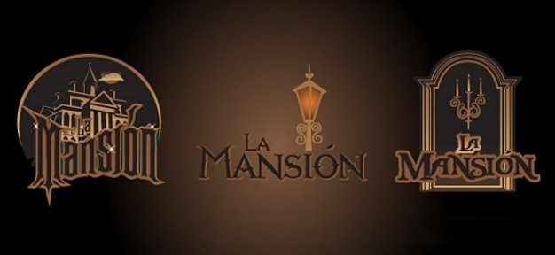 mansion logo templates with dark and spooky elements