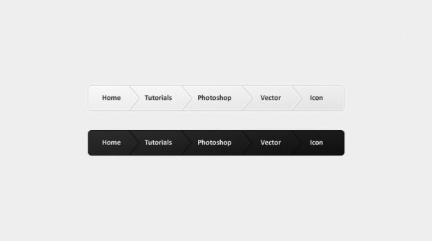 Navigation buttons in black and white