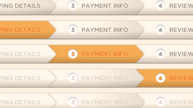 Orange checkout process indicator PSD