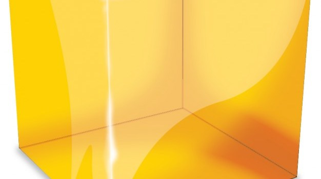 Orange reflective cube icon PSD