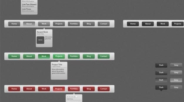 organized navigation menu psd