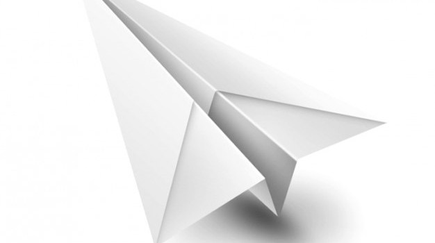 Origami paperplane white toy PSD