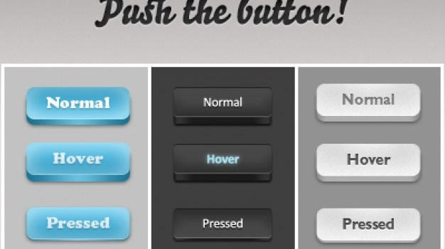 Photoshop buttons in three colors
