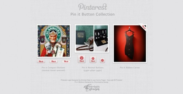 pinterest pin it button collection psd
