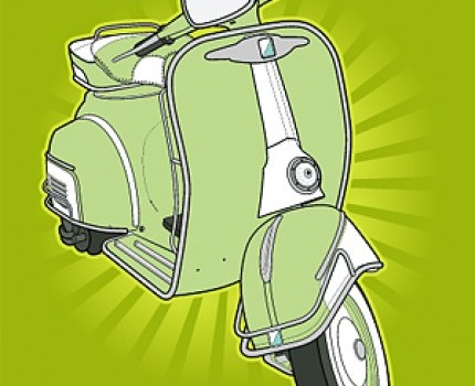 retro small motorcycle vector material