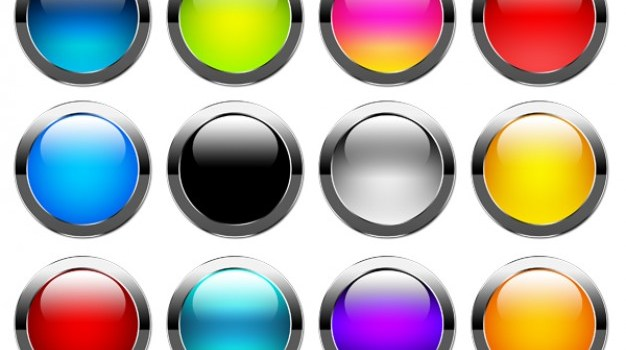 Set of colorful buttons PSD