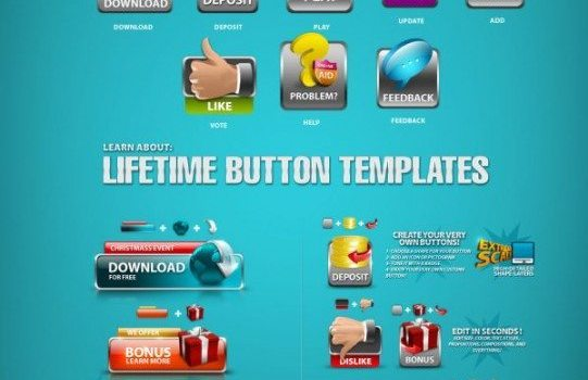several icons psd layered material
