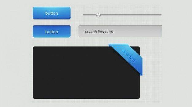 simple clean blue web elements psd