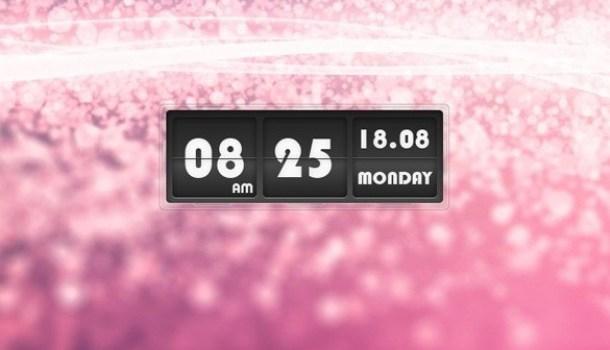 sleek flip clock widget psd