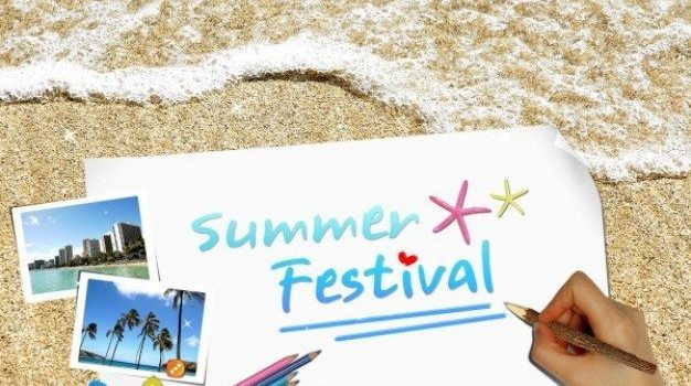 summer creative poster template layered material