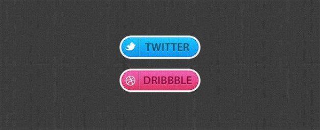 textured twitter & dribbble buttons psd