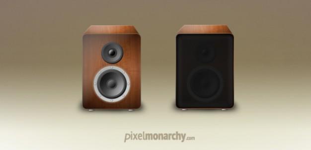 Vintage wood speakers in PSD