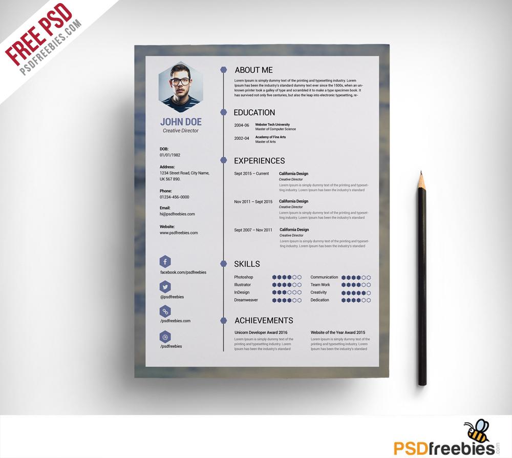 free clean resume psd template psdfreebies com psdfreebies com