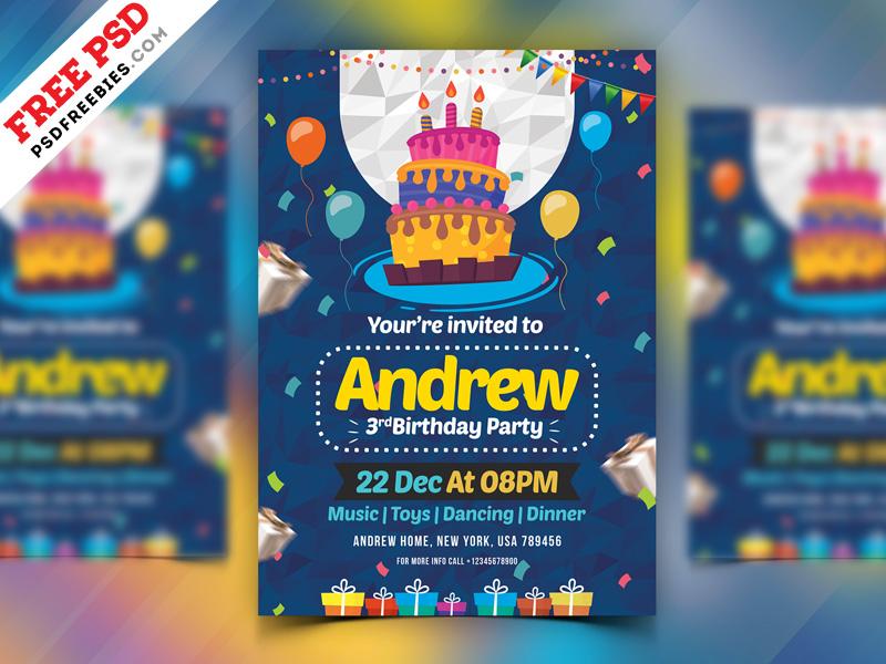 Birthday Party Invitation Card Psd Psdfreebies Com