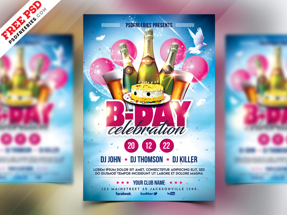 Birthday Party Celebration Flyer Design Psd Psdfreebies Com