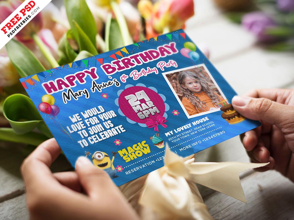 colorful birthday invitation card psd