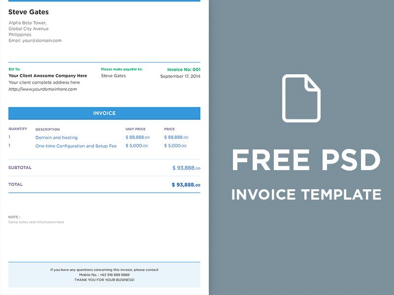 free psd invoice