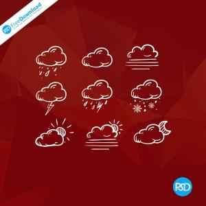 PSD Cloud Icons Free
