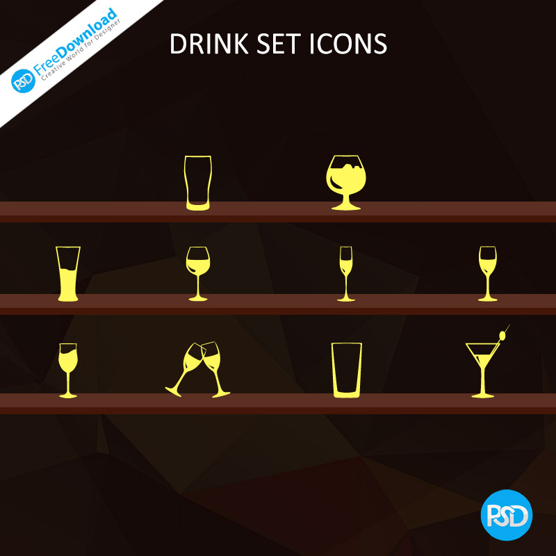 PSD Drink Set Icons Free