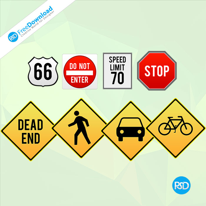Free Road Signs Board PSD