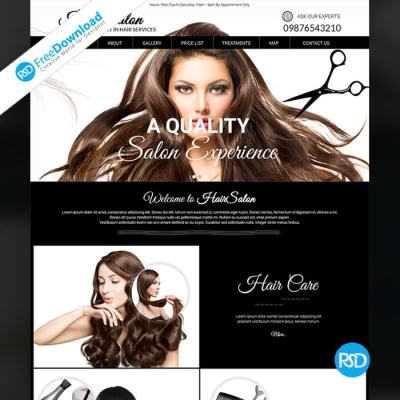 Free Dark Hair Salon Template PSD