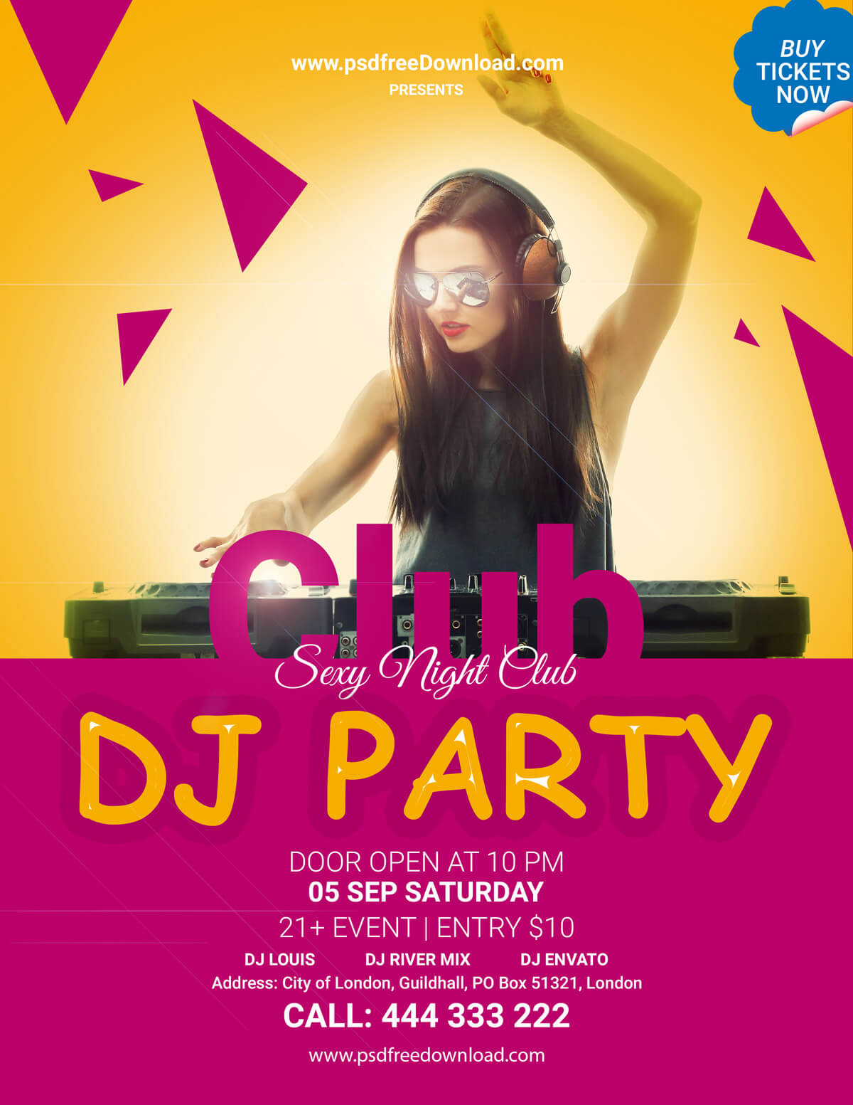 Free DJ Party Flyer Template - PSD Free Download