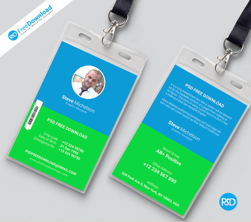 Identity Card Front Back Design Free Psd