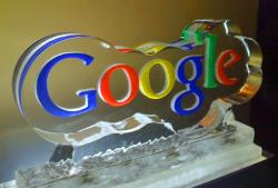 Google logo ice sculpture
