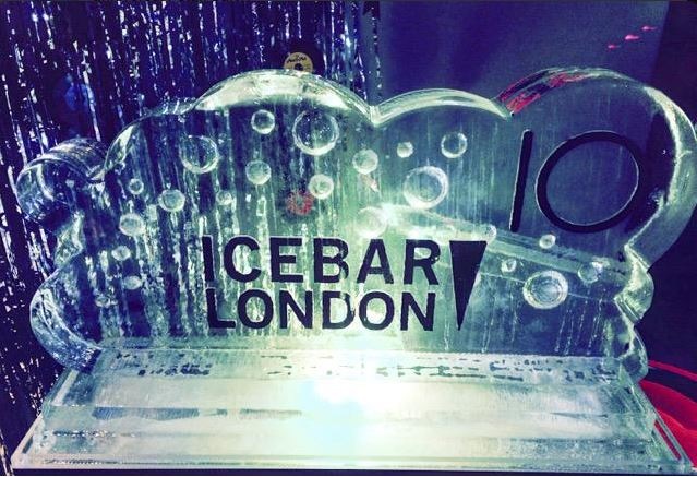 Ice Bar luge with bubbles