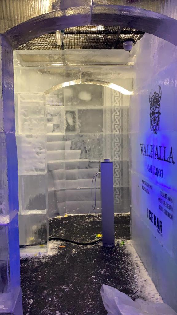 SECRET STAIRCASE IN THE ICE BAR LONDON ICE SCULPTURE BY PSD ICE ART