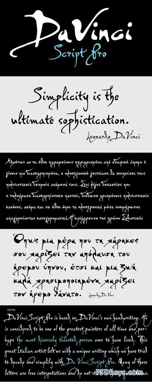 Download PF DaVinci Script Pro Font Family - 2 Fonts for $150 ...