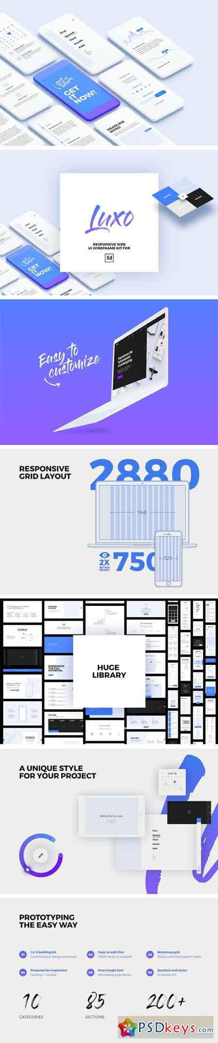 Wireframe      Free Download Photoshop Vector Stock image Via Torrent     Luxo XD Responsive Wireframe UI Kit 1973855