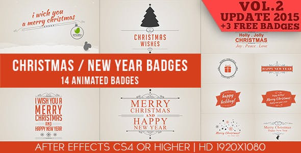 Videohive Christmas / New Year Badges 6020452