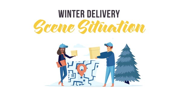 Videohive Winter delivery Scene Situation 29247029