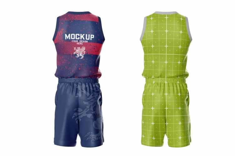 Basketball Kit Mockup. Back Side 4NBV5Y8