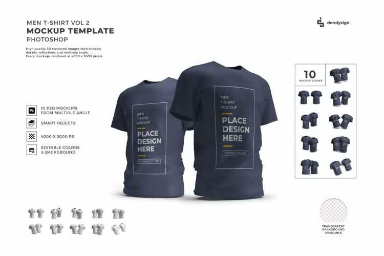 Men Tshirt Mockup Template Set Vol 2 A7HLV7C