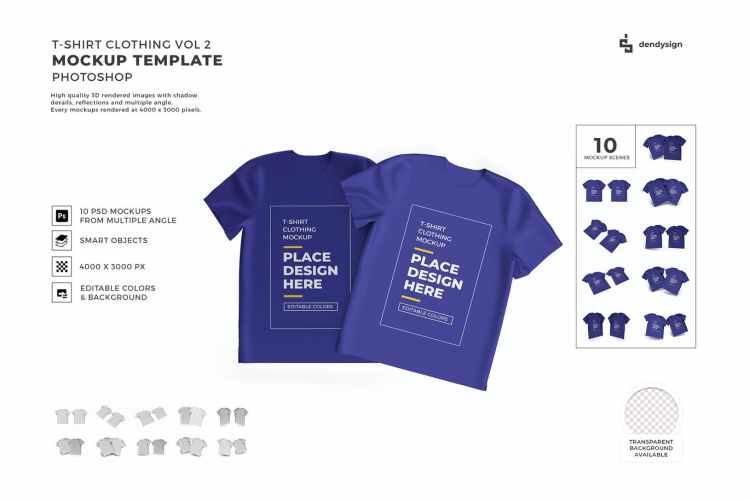 Tshirt Cloth Packaging Mockup Template Set Vol 2 JLKDAF5