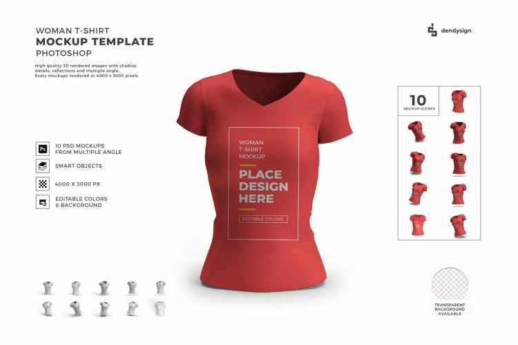 Woman Tshirt Mockup Template Set NNNYNQK