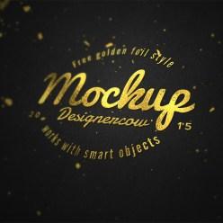 Logo Mockup Gold Foil Effect