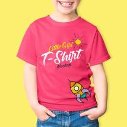 Little Girl T-Shirt Mockup PSD