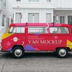 Outdoor Advertisement Van Mockup