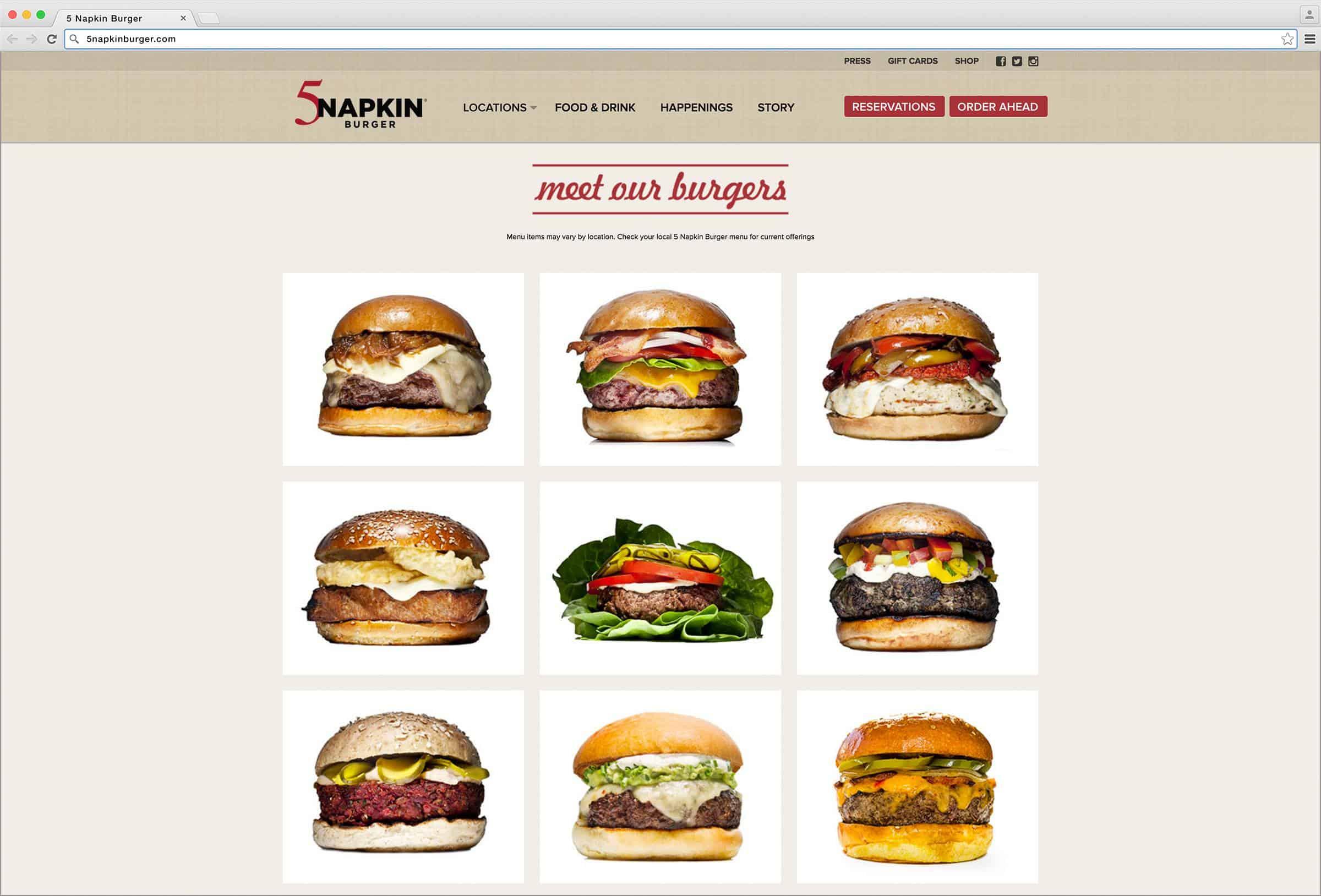 Menu 5 Napkin Burger