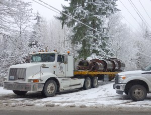 Winter work site, semi-truck with equipment