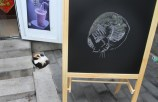 A gentleman came up to this blackboard and drew the cat that was sleeping nearby.